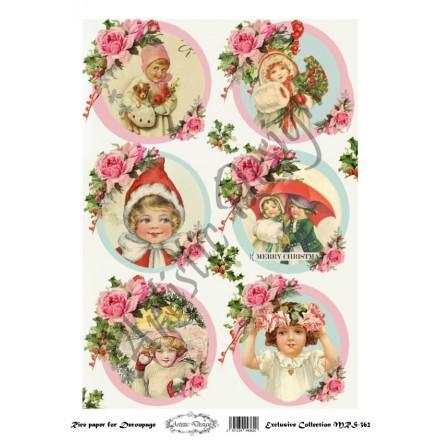 Χριστουγεννιάτικο Ριζόχαρτο Artistic Design για Decoupage Α4, Christmas Vintage Kids / MRS362