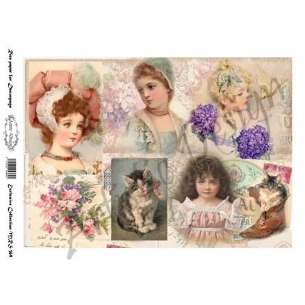 Ριζόχαρτο Artistic Design για Decoupage A4, Vintage Little Girls / MRS369