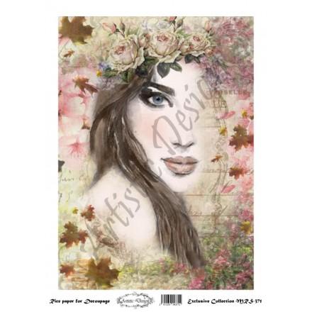 Ριζόχαρτο Artistic Design για Decoupage A4, Portrait (Πρόσωπο Γυναίκας) / MRS371