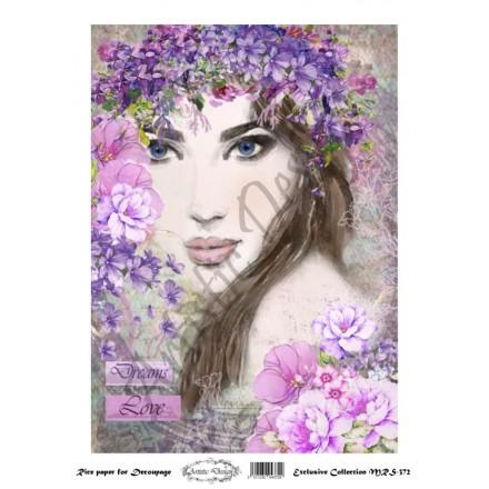 Ριζόχαρτο Artistic Design για Decoupage A4, Portrait (Πρόσωπο Γυναίκας) / MRS372