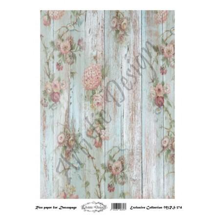 Ριζόχαρτο Artistic Design για Decoupage A4, Background Wood & Flowers / MRS374