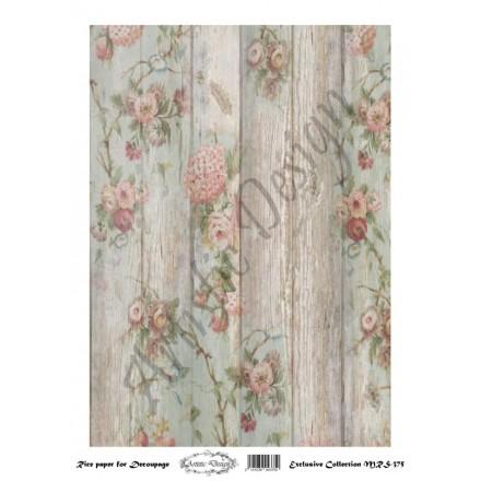 Ριζόχαρτο Artistic Design για Decoupage A4, Background Wood & Flowers / MRS375