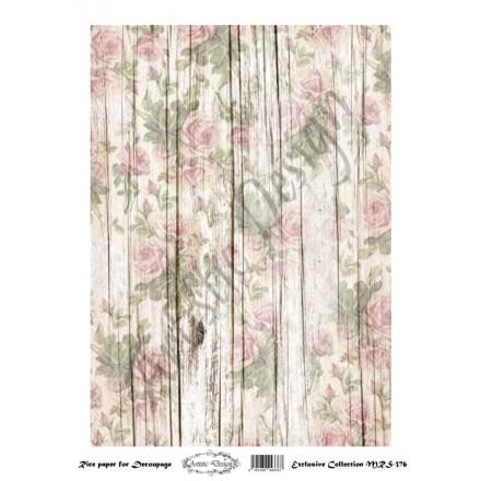 Ριζόχαρτο Artistic Design για Decoupage A4, Background Wood & Flowers / MRS376