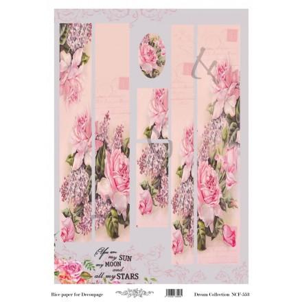 Ριζόχαρτο NCF για Decoupage 30x40cm, Λαμπάδα pink roses / NCF553