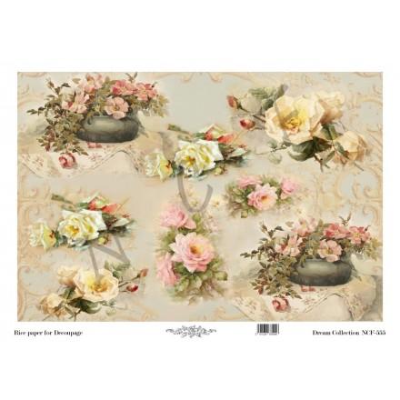 Ριζόχαρτο NCF για Decoupage 30x40cm, Flowers / NCF555