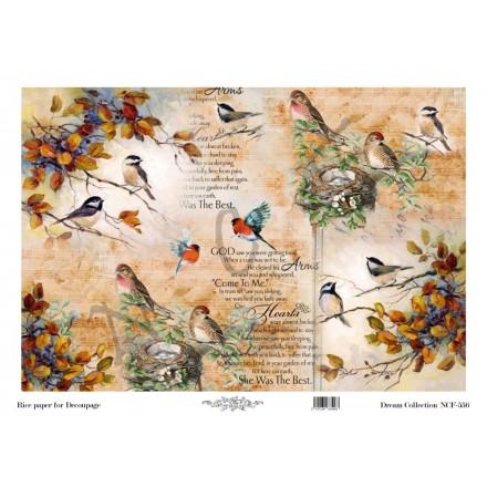 Ριζόχαρτο NCF για Decoupage 30x40cm, Vintage Birds / NCF556
