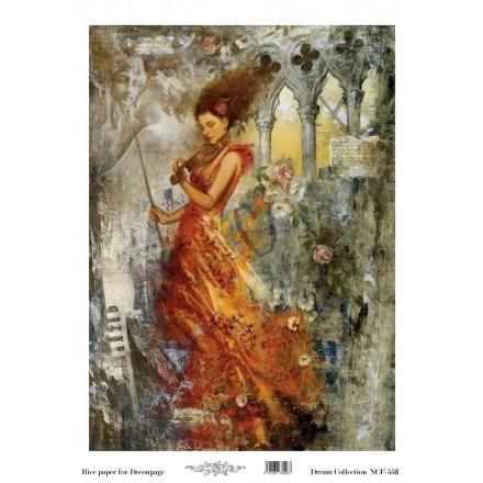 Ριζόχαρτο NCF για Decoupage 30x40cm, Violin Lady / NCF558