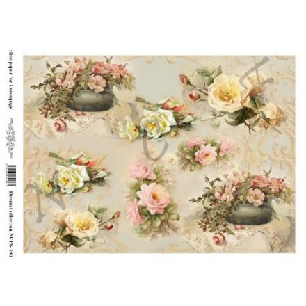 Ριζόχαρτο NCF για Decoupage A4, flowers / NCFS186