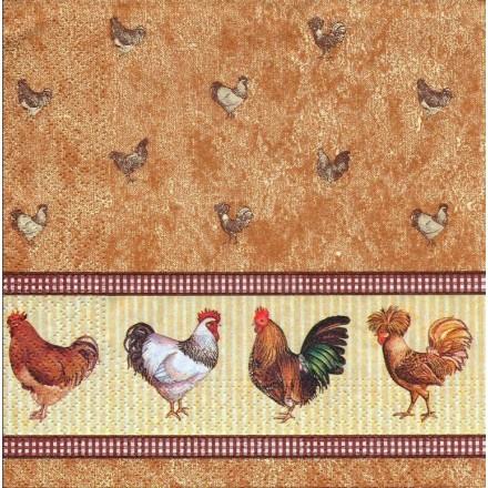 Χαρτοπετσέτα για Decoupage, Chicken Farm (brown) / NV-74027