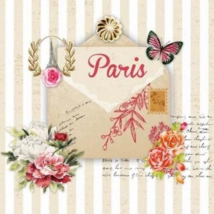Χαρτοπετσέτα για Decoupage, Lettre de Paris / NV-74531