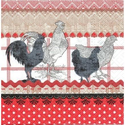 Χαρτοπετσέτα για Decoupage, The Cry of Rural Rooster (red) / SDL842000