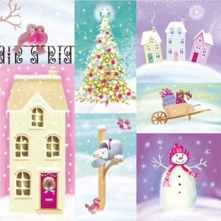 Χριστουγιεννιάτικη Χαρτοπετσέτα για Decoupage, Pastel Winter / SDL045000