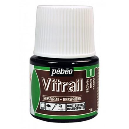 Pebeo Vitrail Trasparent Colour (Διάφανo σμάλτo διαλύτη) 45ml, Brown