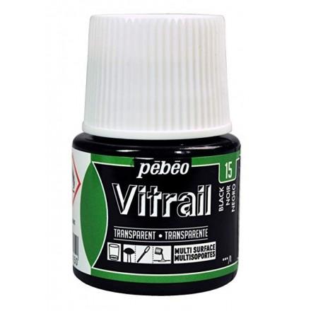 Pebeo Vitrail Trasparent Colour (Διάφανo σμάλτo διαλύτη) 45ml, Black