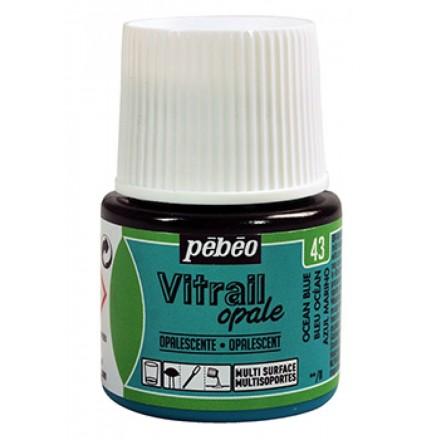 Pebeo Vitrail Opaque Colour (Ημιδιαφανές σμάλτo διαλύτη) 45ml), Ocean Blue