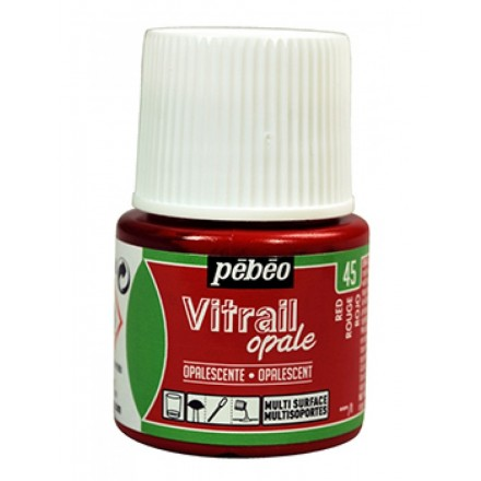 Pebeo Vitrail Opaque Colour (Ημιδιαφανές σμάλτo διαλύτη) 45ml), Red