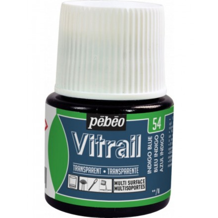 Pebeo Vitrail Trasparent Colour (Διάφανo σμάλτo διαλύτη) 45ml, Indigo Blue
