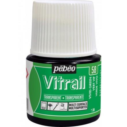 Pebeo Vitrail Trasparent Colour (Διάφανo σμάλτo διαλύτη) 45ml, Vivid Green