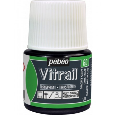 Pebeo Vitrail Trasparent Colour (Διάφανo σμάλτo διαλύτη) 45ml, Smoky Grey