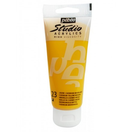 Ακρυλικό Χρώμα Pebeo Studio High Viscosity 100ml, Medium Cadmium Yellow Hue