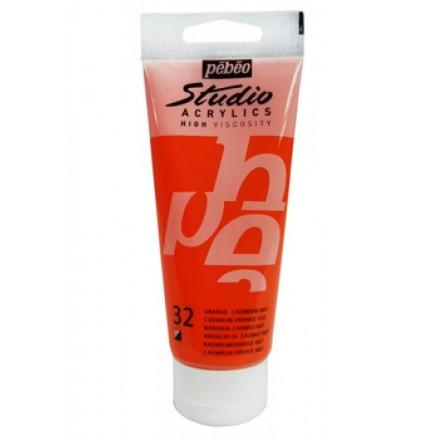 Ακρυλικό Χρώμα Pebeo Studio High Viscosity 100ml, Cadmium Orange Hue