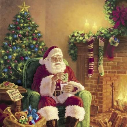 Χριστουγιεννιάτικη Χαρτοπετσέτα για Decoupage, Santa at Home / PD-193427