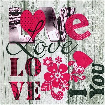 Χαρτοπετσέτα για Decoupage, I Love You / PD-200040