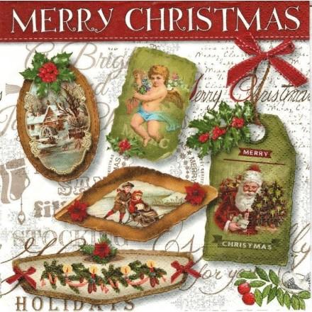 Χριστουγιεννιάτικη Χαρτοπετσέτα για Decoupage, Christmas labels / PD-600041