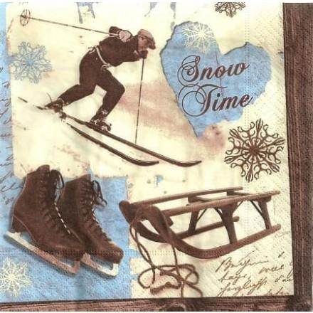 Χριστουγιεννιάτικη Χαρτοπετσέτα για Decoupage, Snow time / PD-60778