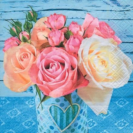 Χαρτοπετσέτα για Decoupage, Roses on Blue / PD-200258
