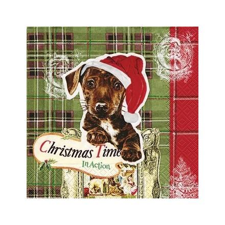 Χριστουγιεννιάτικη Χαρτοπετσέτα για Decoupage, Doggy Christmas / PD-60727