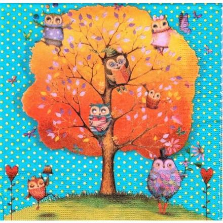 Χαρτοπετσέτα για Decoupage, Owls favorite Tree / 133-1350