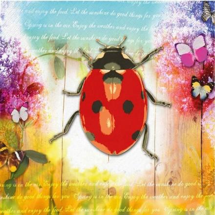 Χαρτοπετσέτα για Decoupage, Ladybug & Flowers / 133-1547
