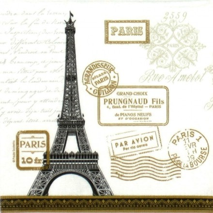 Χαρτοπετσέτα, Paula Scaletta: Paris Rendezvous White / 133-1931