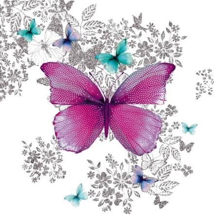Χαρτοπετσέτα για Decoupage, Butterfly pink and turquoise / 133-3650