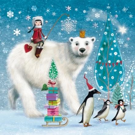 Χριστουγιεννιάτικη Χαρτοπετσέτα για Decoupage, Bear and Penguins / 333-1660