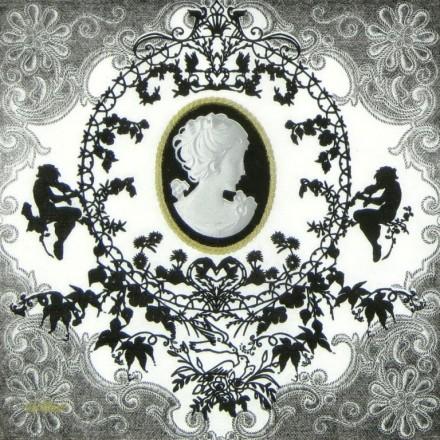 Χαρτοπετσέτα για Decoupage, Cameo (black/white) / 4955