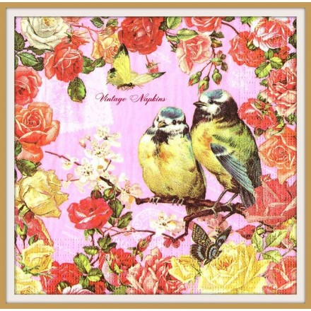 Χαρτοπετσέτα για Decoupage, Vintage Birds with Roses / 7677