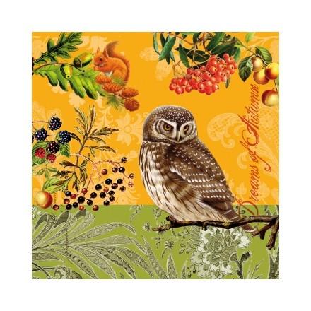 Χαρτοπετσέτα για Decoupage, Autumn Owls / 133-1346