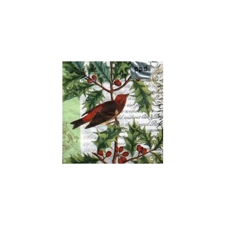 Χριστουγιεννιάτικη Χαρτοπετσέτα για Decoupage, Holiday Holly and Bird / 007104
