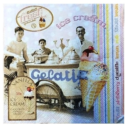 Χαρτοπετσέτα για Decoupage, Ice Cream 25x25cm / R2S-1060