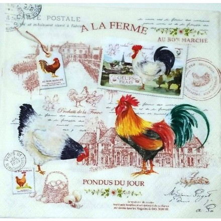 Χαρτοπετσέτα για Decoupage, A La Ferme / 414-FERM