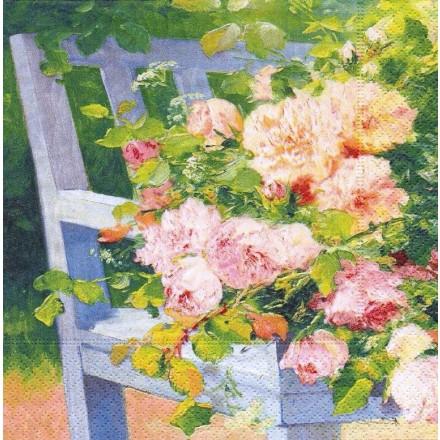 Χαρτοπετσέτα για Decoupage, Flowers on Bench / 414-FLOB