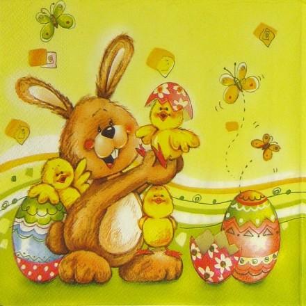 Πασχαλινή Χαρτοπετσέτα για Decoupage, Bunnies and eggs / SDWL-001801