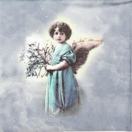Vintage Χαρτοπετσέτα για Decoupage, Turquoise angel / SG-2051