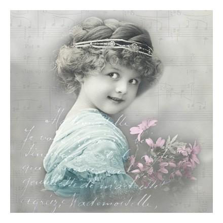 Vintage Χαρτοπετσέτα για Decoupage, Turquoise girl / SG-80030
