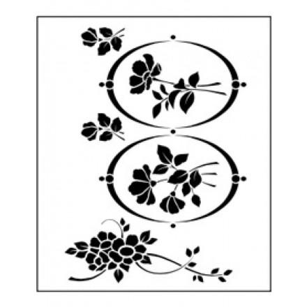 Στένσιλ (Stencil) Tommy Art 30x40cm, Flowers & Oval / STE016