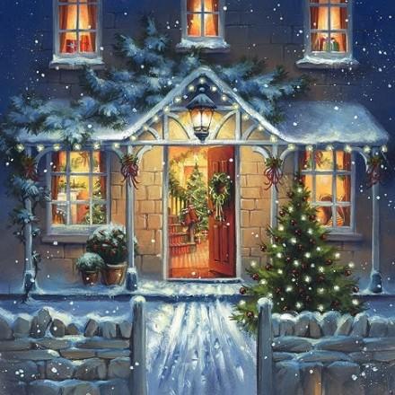 Χριστουγιεννιάτικη Χαρτοπετσέτα για Decoupage, Welcome Home at Christmas / 310667