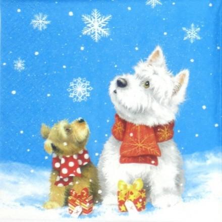 Χαρτοπετσέτα για Decoupage, Dogs in Snow / 310707