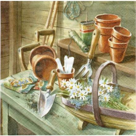 Χαρτοπετσέτα για Decoupage, Daisies in Garden Shed / 363430